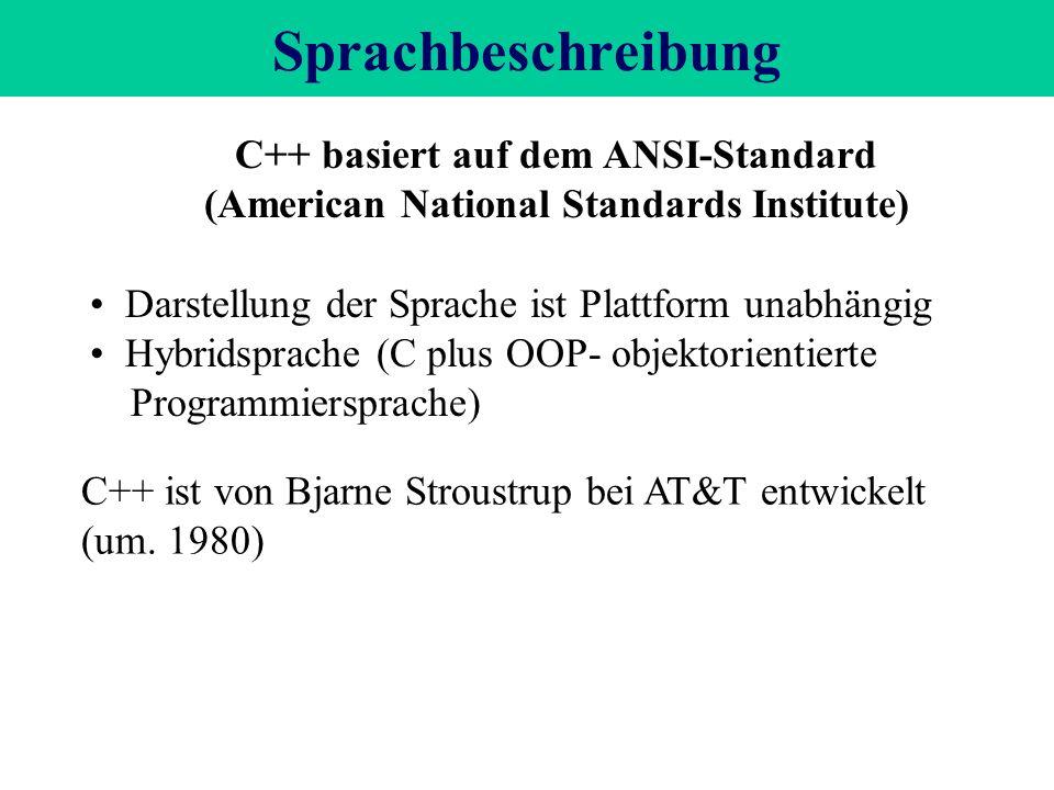 Sprachbeschreibung C++ basiert auf dem ANSI-Standard (American National Standards Institute) Darstellung der Sprache ist Plattform unabhängig Hybridsprache (C plus OOP- objektorientierte Programmiersprache) C++ ist von Bjarne Stroustrup bei AT&T entwickelt (um.