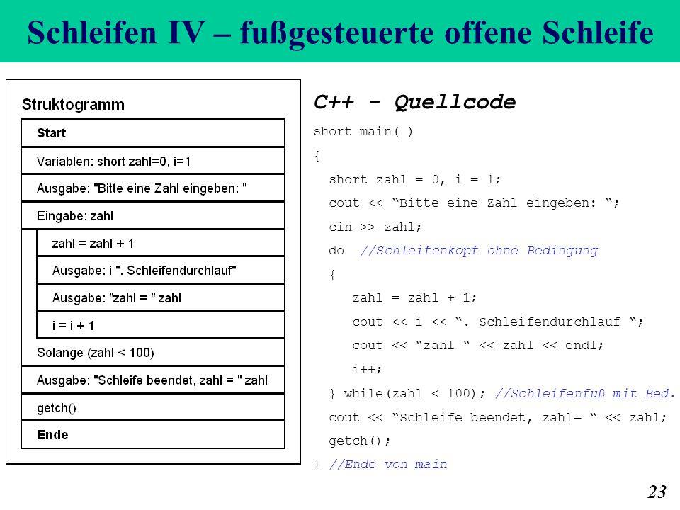 Schleifen IV – fußgesteuerte offene Schleife 23 C++ - Quellcode short main( ) { short zahl = 0, i = 1; cout << Bitte eine Zahl eingeben: ; cin >> zahl; do //Schleifenkopf ohne Bedingung { zahl = zahl + 1; cout << i <<.
