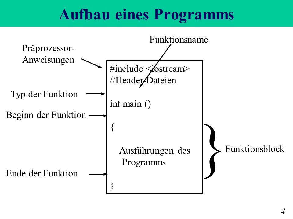Aufbau eines Programms 4 #include //Header-Dateien int main () { Ausführungen des Programms } } Funktionsblock Funktionsname Beginn der Funktion Ende der Funktion Typ der Funktion Präprozessor- Anweisungen