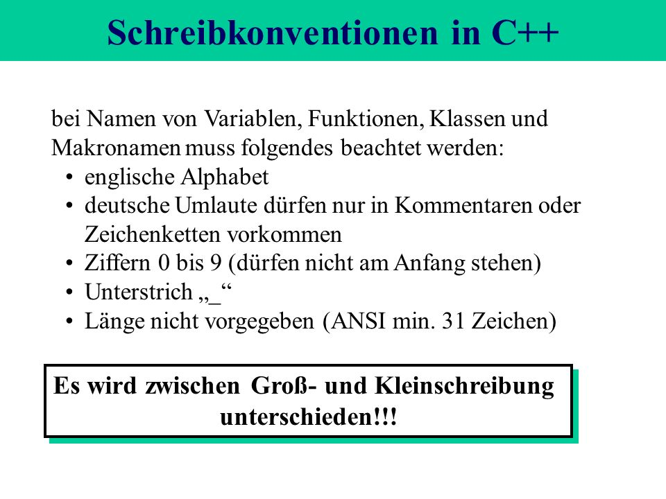 Schreibkonventionen in C++ bei Namen von Variablen, Funktionen, Klassen und Makronamen muss folgendes beachtet werden: englische Alphabet deutsche Umlaute dürfen nur in Kommentaren oder Zeichenketten vorkommen Ziffern 0 bis 9 (dürfen nicht am Anfang stehen) Unterstrich _ Länge nicht vorgegeben (ANSI min.