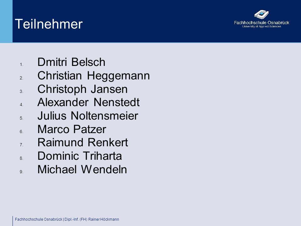 Fachhochschule Osnabrück | Dipl.-Inf. (FH) Rainer Höckmann Teilnehmer 1. Dmitri Belsch 2. Christian Heggemann 3. Christoph Jansen 4. Alexander Nensted