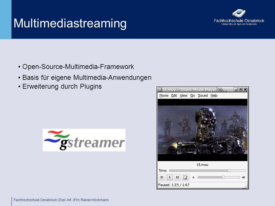 Fachhochschule Osnabrück | Dipl.-Inf. (FH) Rainer Höckmann Multimediastreaming Open-Source-Multimedia-Framework Basis für eigene Multimedia-Anwendunge