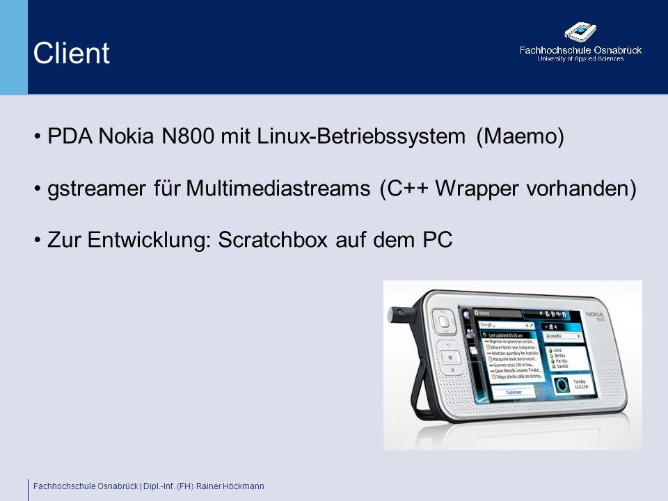 Fachhochschule Osnabrück | Dipl.-Inf. (FH) Rainer Höckmann Client PDA Nokia N800 mit Linux-Betriebssystem (Maemo) gstreamer für Multimediastreams (C++