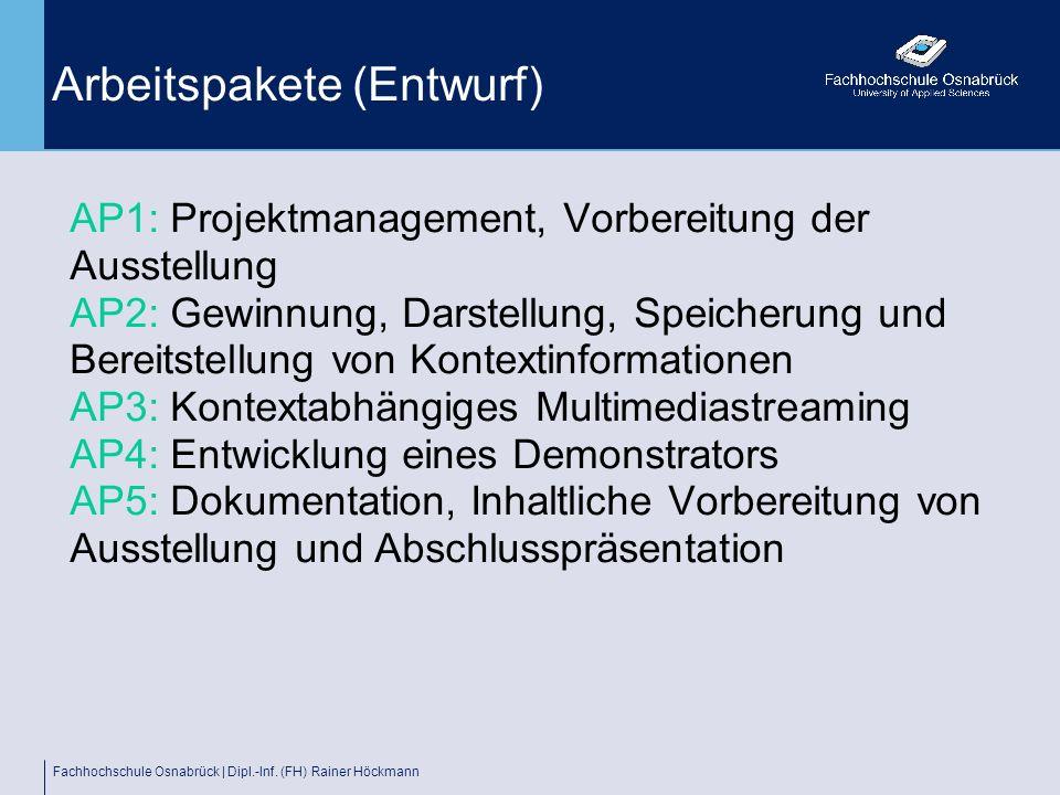 Fachhochschule Osnabrück | Dipl.-Inf. (FH) Rainer Höckmann Arbeitspakete (Entwurf) AP1: Projektmanagement, Vorbereitung der Ausstellung AP2: Gewinnung