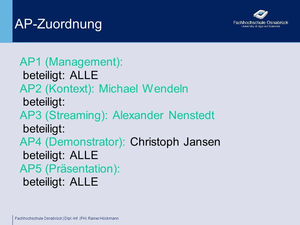 Fachhochschule Osnabrück | Dipl.-Inf. (FH) Rainer Höckmann AP-Zuordnung AP1 (Management): beteiligt: ALLE AP2 (Kontext): Michael Wendeln beteiligt: AP