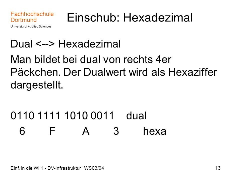 Fachhochschule Dortmund University of Applied Sciences Einf. in die WI 1 - DV-Infrastruktur WS03/0413 Einschub: Hexadezimal Dual Hexadezimal Man bilde