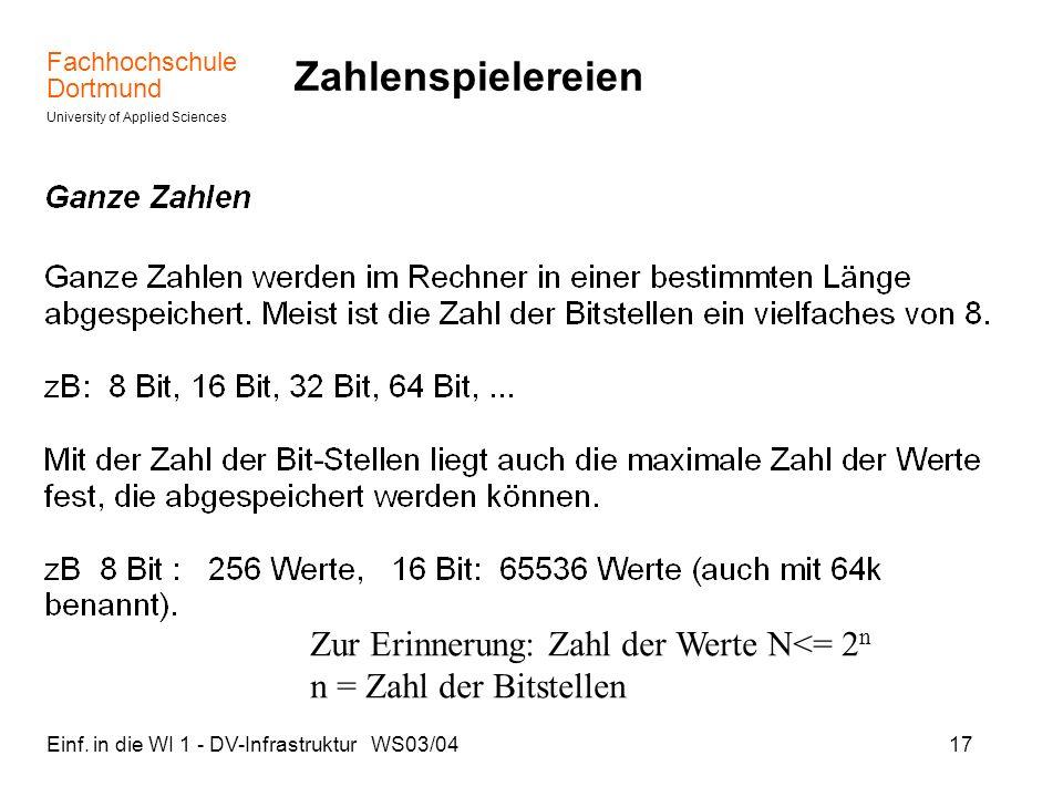 Fachhochschule Dortmund University of Applied Sciences Einf. in die WI 1 - DV-Infrastruktur WS03/0417 Zahlenspielereien Zur Erinnerung: Zahl der Werte