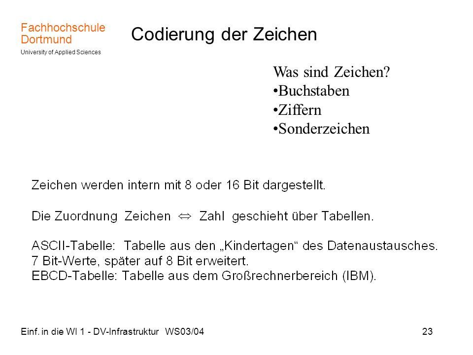 Fachhochschule Dortmund University of Applied Sciences Einf. in die WI 1 - DV-Infrastruktur WS03/0423 Codierung der Zeichen Was sind Zeichen? Buchstab
