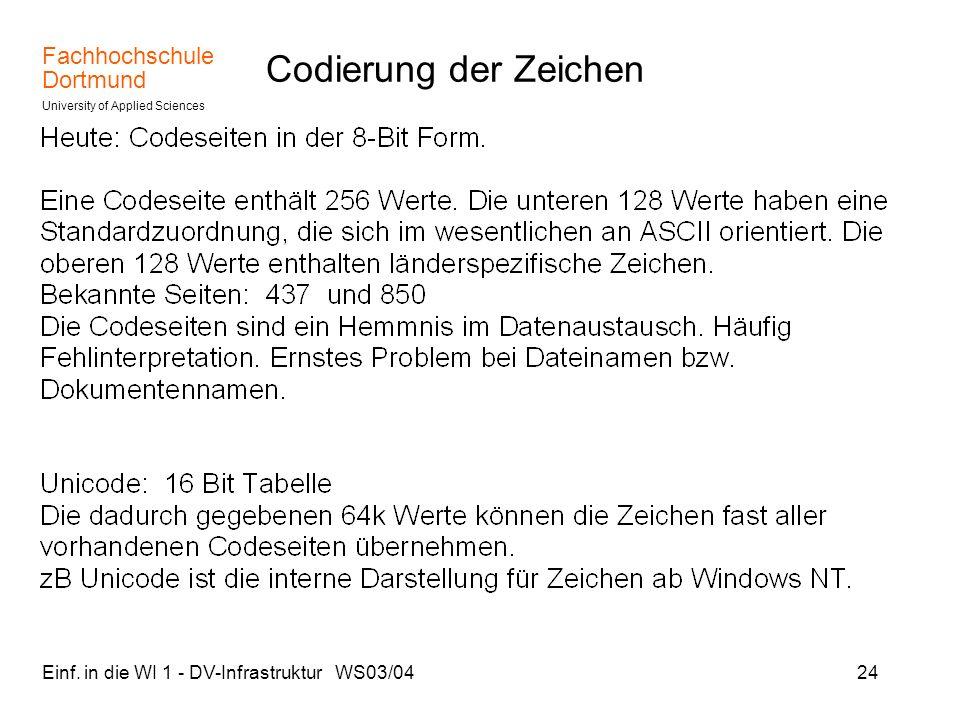 Fachhochschule Dortmund University of Applied Sciences Einf. in die WI 1 - DV-Infrastruktur WS03/0424 Codierung der Zeichen