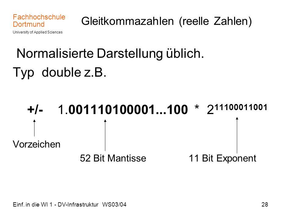 Fachhochschule Dortmund University of Applied Sciences Einf. in die WI 1 - DV-Infrastruktur WS03/0428 Gleitkommazahlen (reelle Zahlen) Normalisierte D