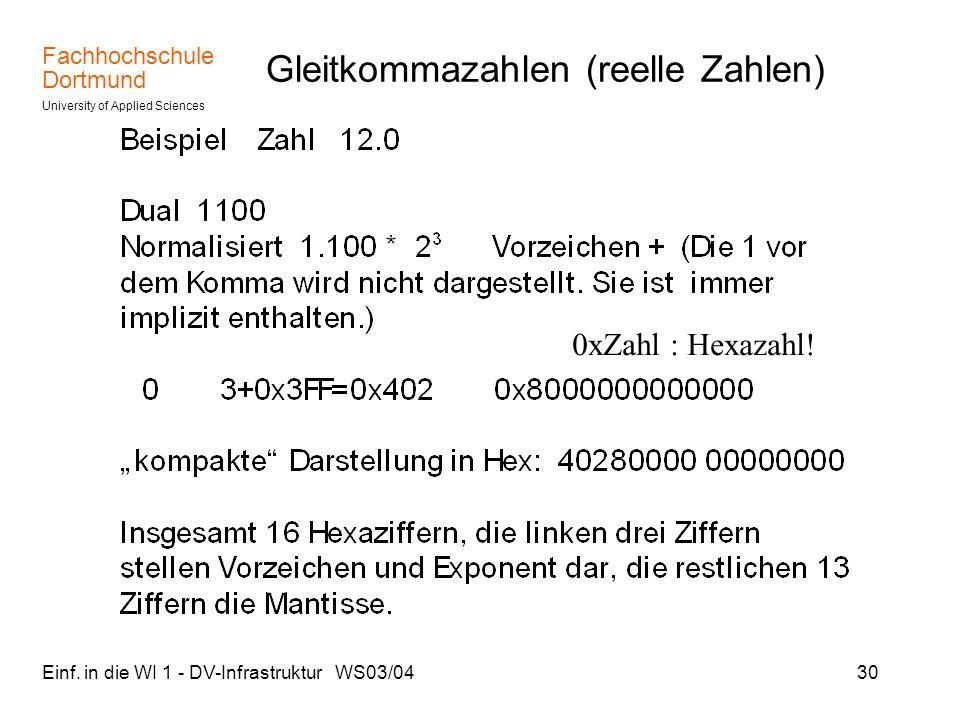 Fachhochschule Dortmund University of Applied Sciences Einf. in die WI 1 - DV-Infrastruktur WS03/0430 Gleitkommazahlen (reelle Zahlen) 0xZahl : Hexaza