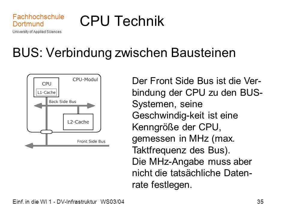 Fachhochschule Dortmund University of Applied Sciences Einf. in die WI 1 - DV-Infrastruktur WS03/0435 CPU Technik BUS: Verbindung zwischen Bausteinen