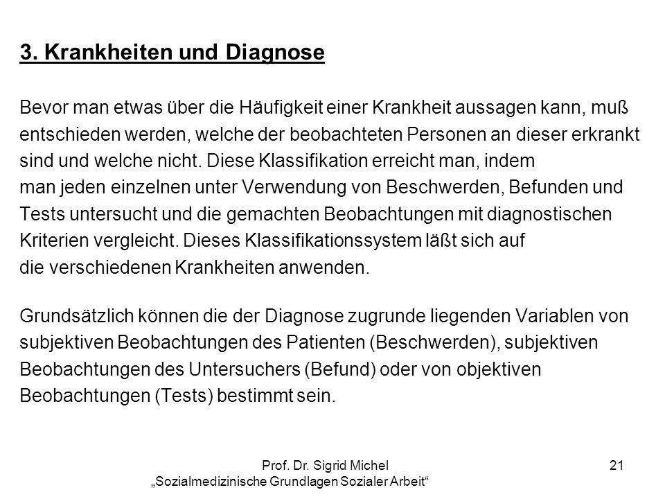 Prof. Dr. Sigrid Michel Sozialmedizinische Grundlagen Sozialer Arbeit 21 3. Krankheiten und Diagnose Bevor man etwas über die Häufigkeit einer Krankhe