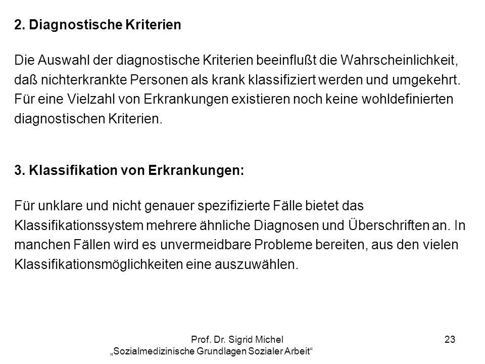 Prof. Dr. Sigrid Michel Sozialmedizinische Grundlagen Sozialer Arbeit 23 2. Diagnostische Kriterien Die Auswahl der diagnostische Kriterien beeinflußt