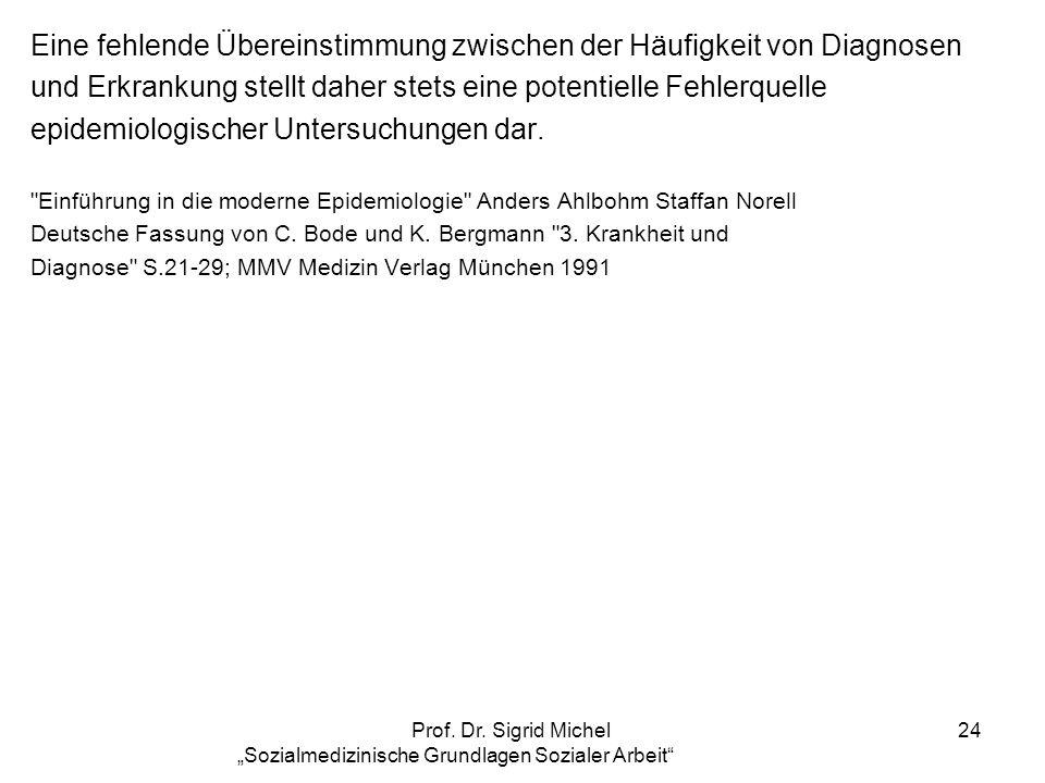 Prof. Dr. Sigrid Michel Sozialmedizinische Grundlagen Sozialer Arbeit 24 Eine fehlende Übereinstimmung zwischen der Häufigkeit von Diagnosen und Erkra