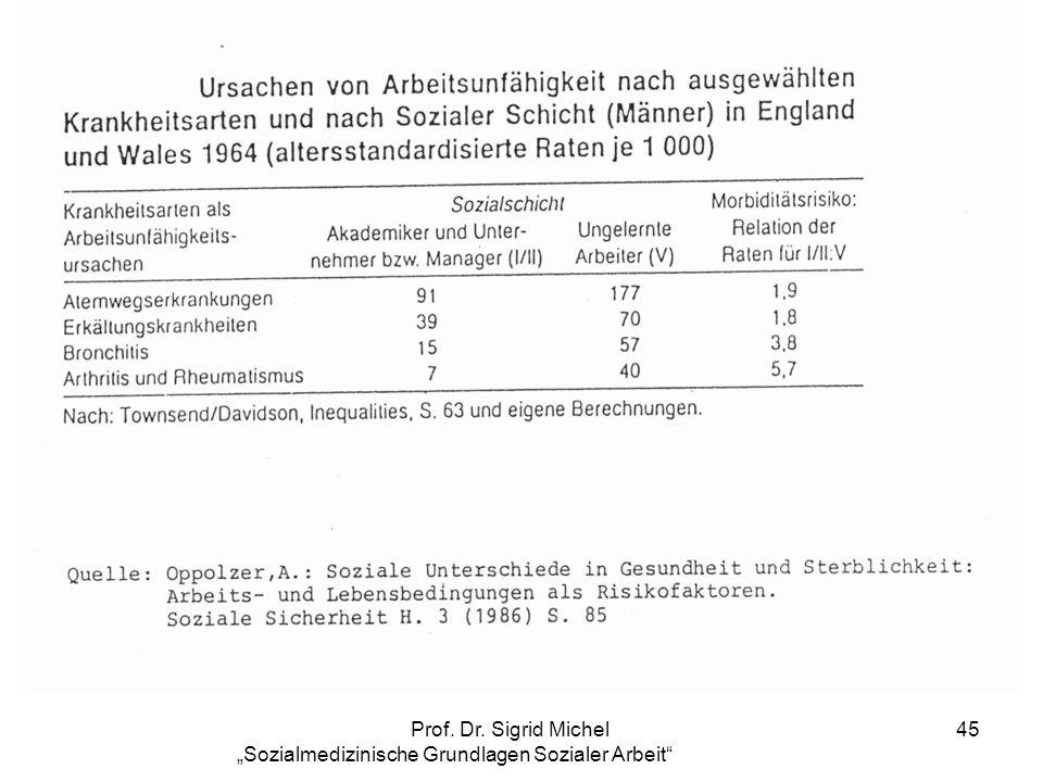 Prof. Dr. Sigrid Michel Sozialmedizinische Grundlagen Sozialer Arbeit 45
