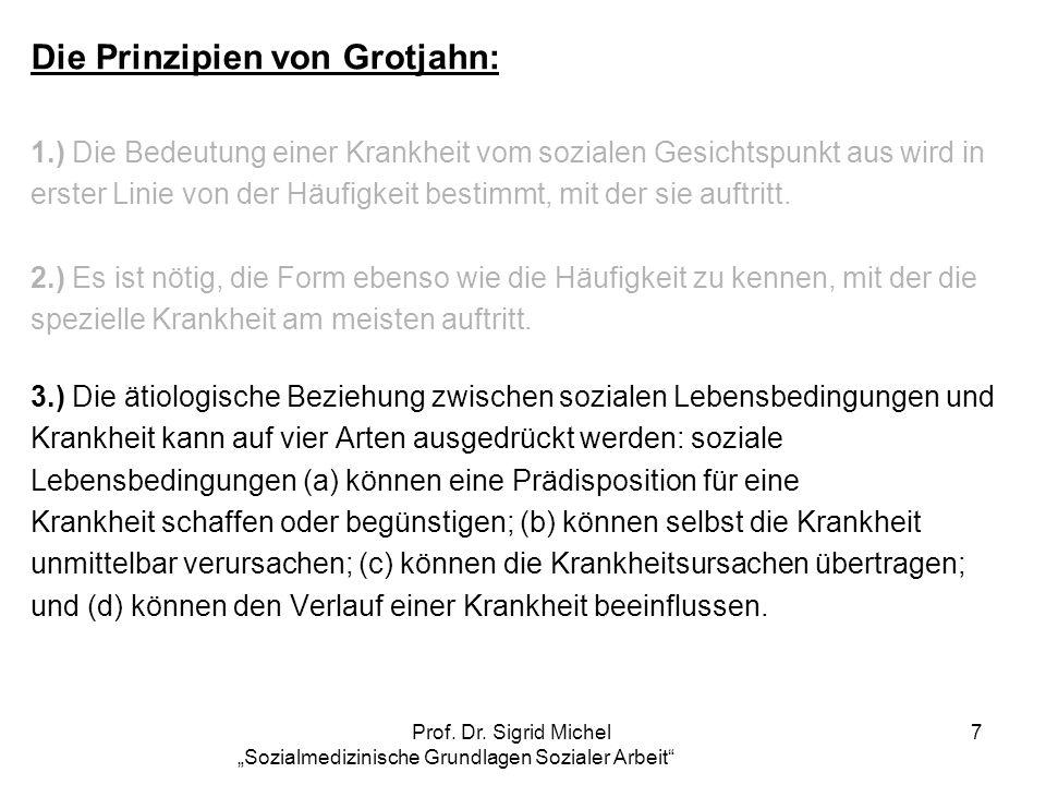 Prof. Dr. Sigrid Michel Sozialmedizinische Grundlagen Sozialer Arbeit 7 Die Prinzipien von Grotjahn: 1.) Die Bedeutung einer Krankheit vom sozialen Ge