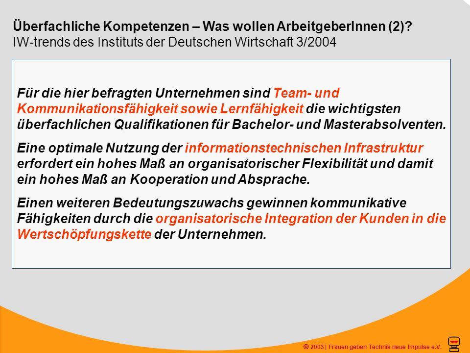 2003 | Frauen geben Technik neue Impulse e.V. Überfachliche Kompetenzen – Was wollen ArbeitgeberInnen (2)? IW-trends des Instituts der Deutschen Wirts