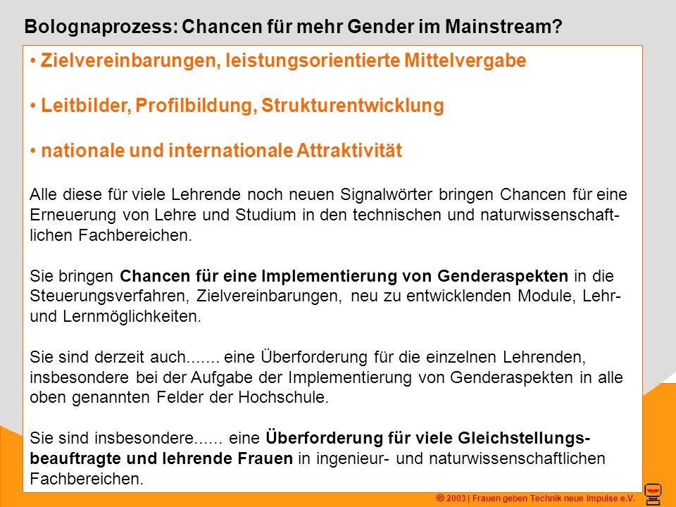 2003 | Frauen geben Technik neue Impulse e.V. Bolognaprozess: Chancen für mehr Gender im Mainstream? Zielvereinbarungen, leistungsorientierte Mittelve