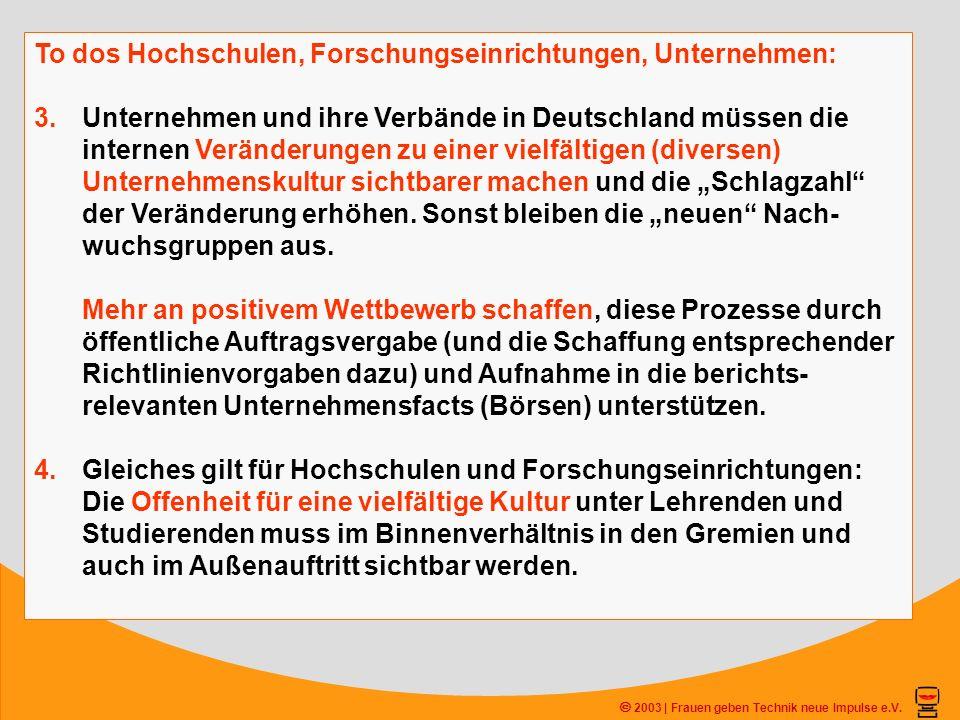 2003 | Frauen geben Technik neue Impulse e.V. To dos Hochschulen, Forschungseinrichtungen, Unternehmen: 3.Unternehmen und ihre Verbände in Deutschland