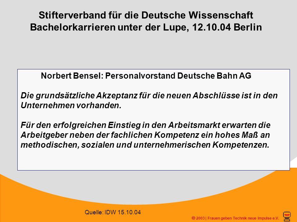 Stifterverband für die Deutsche Wissenschaft Bachelorkarrieren unter der Lupe, 12.10.04 Berlin 2003 | Frauen geben Technik neue Impulse e.V. Quelle: I