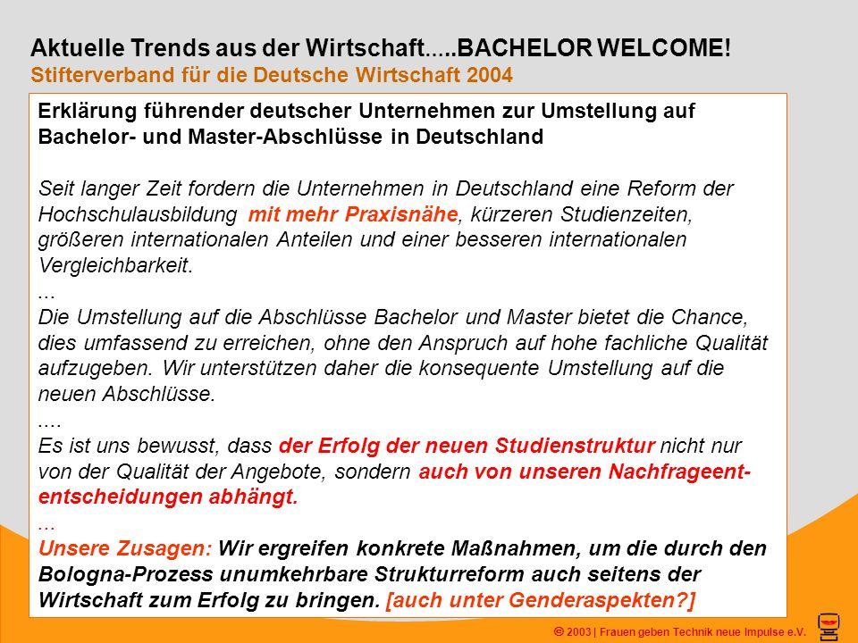 2003 | Frauen geben Technik neue Impulse e.V. Aktuelle Trends aus der Wirtschaft …..BACHELOR WELCOME! Stifterverband für die Deutsche Wirtschaft 2004