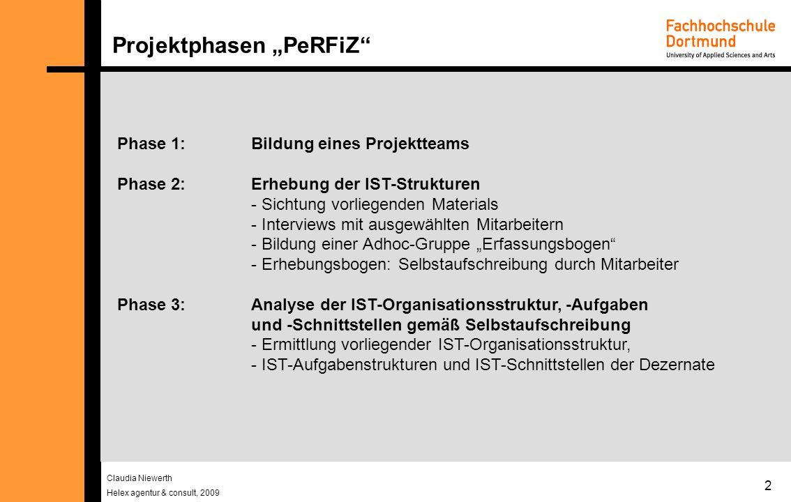 Claudia Niewerth Helex agentur & consult, 2009 2 Projektphasen PeRFiZ Phase 1: Bildung eines Projektteams Phase 2: Erhebung der IST-Strukturen - Sicht