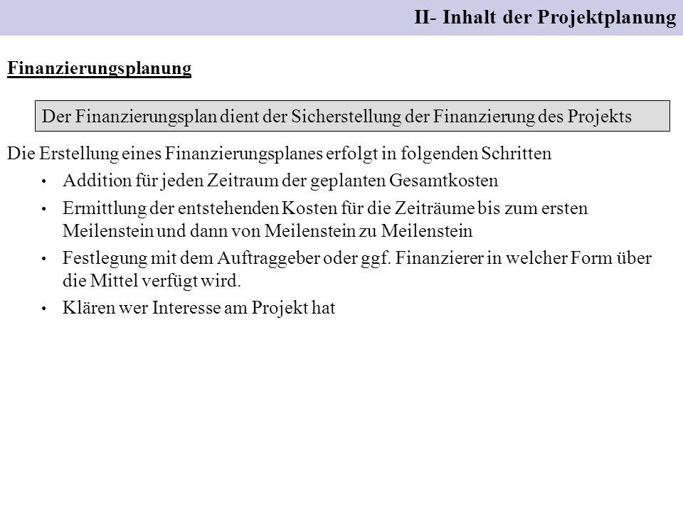 II- Inhalt der Projektplanung Finanzierungsplanung Der Finanzierungsplan dient der Sicherstellung der Finanzierung des Projekts Die Erstellung eines F