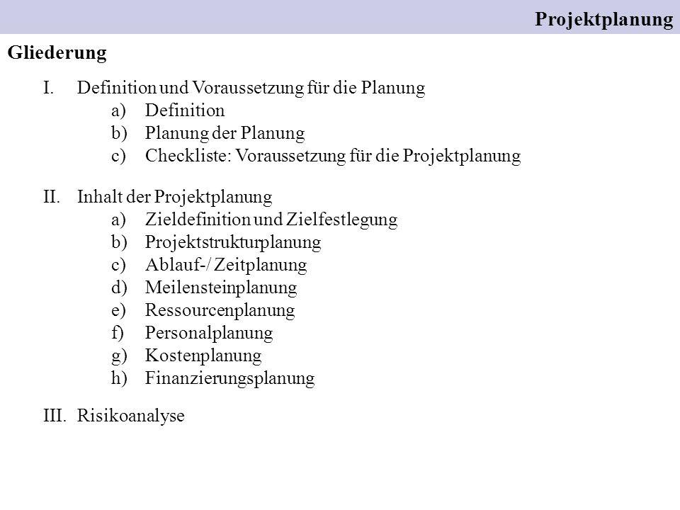 Gliederung Projektplanung I.Definition und Voraussetzung für die Planung a)Definition b)Planung der Planung c)Checkliste: Voraussetzung für die Projek