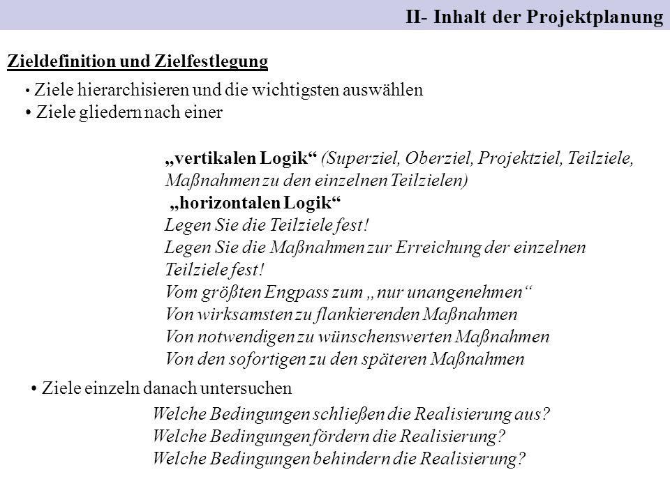 II- Inhalt der Projektplanung Zieldefinition und Zielfestlegung vertikalen Logik (Superziel, Oberziel, Projektziel, Teilziele, Maßnahmen zu den einzel