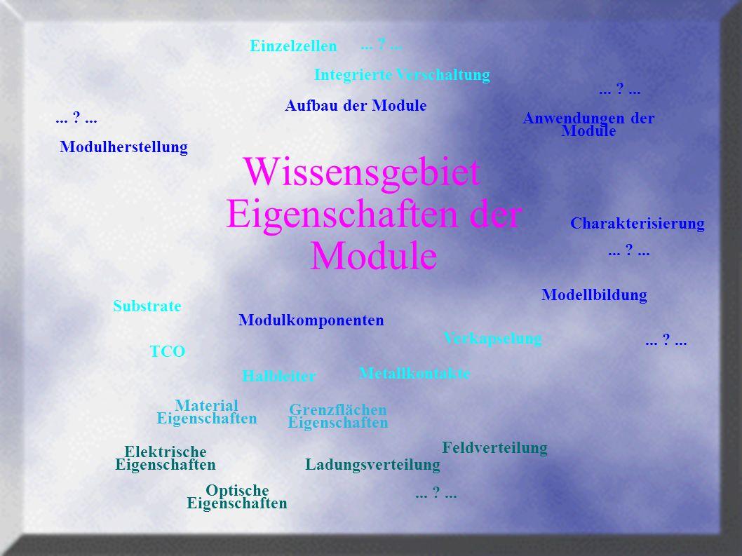 Wissensgebiet Eigenschaften der Module Modellbildung Charakterisierung Verkapselung Metallkontakte TCO Integrierte Verschaltung Einzelzellen Halbleiter Substrate Anwendungen der Module Aufbau der Module Modulkomponenten Modulherstellung...