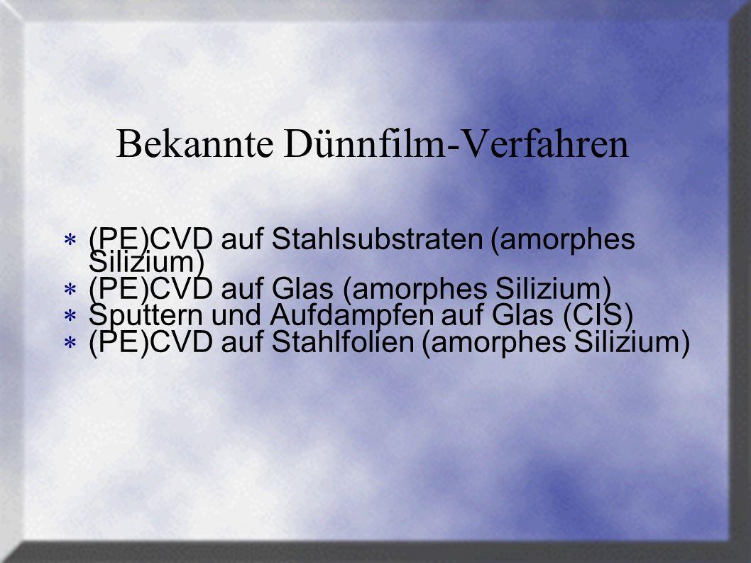 Bekannte Dünnfilm-Verfahren (PE)CVD auf Stahlsubstraten (amorphes Silizium) (PE)CVD auf Glas (amorphes Silizium) Sputtern und Aufdampfen auf Glas (CIS