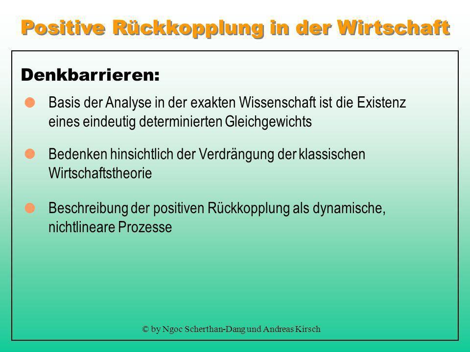 Positive Rückkopplung in der Wirtschaft © by Ngoc Scherthan-Dang und Andreas Kirsch Aktuell: Wirtschaftstheorie beruht auf der Annahme zunehmender Ert