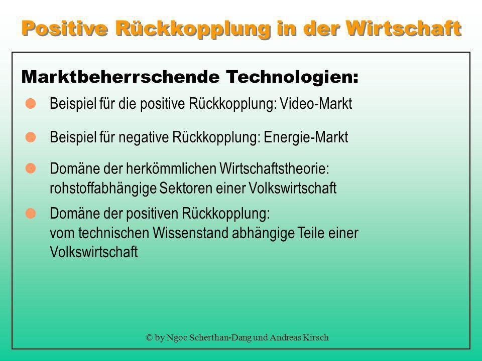 Positive Rückkopplung in der Wirtschaft © by Ngoc Scherthan-Dang und Andreas Kirsch Marktbeherrschende Technologien: Beispiel für die positive Rückkopplung: Video-Markt Domäne der positiven Rückkopplung: vom technischen Wissenstand abhängige Teile einer Volkswirtschaft Domäne der herkömmlichen Wirtschaftstheorie: rohstoffabhängige Sektoren einer Volkswirtschaft Beispiel für negative Rückkopplung: Energie-Markt