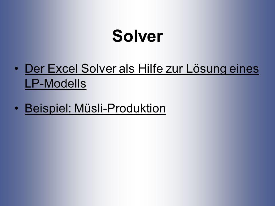 Solver Der Excel Solver als Hilfe zur Lösung eines LP-Modells Beispiel: Müsli-Produktion