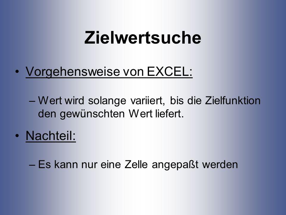 Zielwertsuche Vorgehensweise von EXCEL: –Wert wird solange variiert, bis die Zielfunktion den gewünschten Wert liefert. Nachteil: –Es kann nur eine Ze