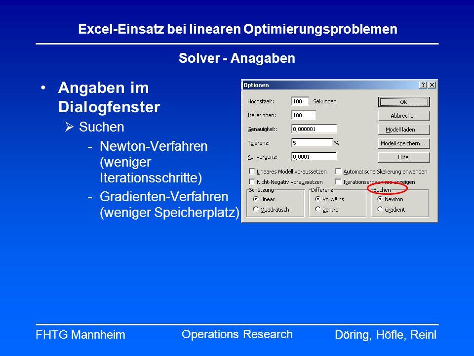 FHTG MannheimDöring, Höfle, Reinl Excel-Einsatz bei linearen Optimierungsproblemen Operations Research Solver - Anagaben Angaben im Dialogfenster Such