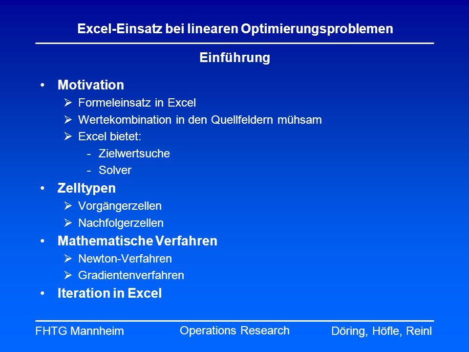 FHTG MannheimDöring, Höfle, Reinl Excel-Einsatz bei linearen Optimierungsproblemen Operations Research Einführung Motivation Formeleinsatz in Excel We