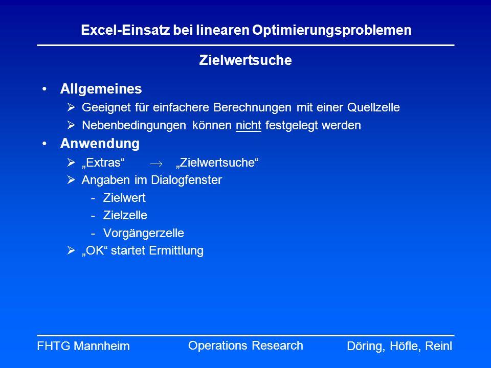 FHTG MannheimDöring, Höfle, Reinl Excel-Einsatz bei linearen Optimierungsproblemen Operations Research Zielwertsuche Allgemeines Geeignet für einfache