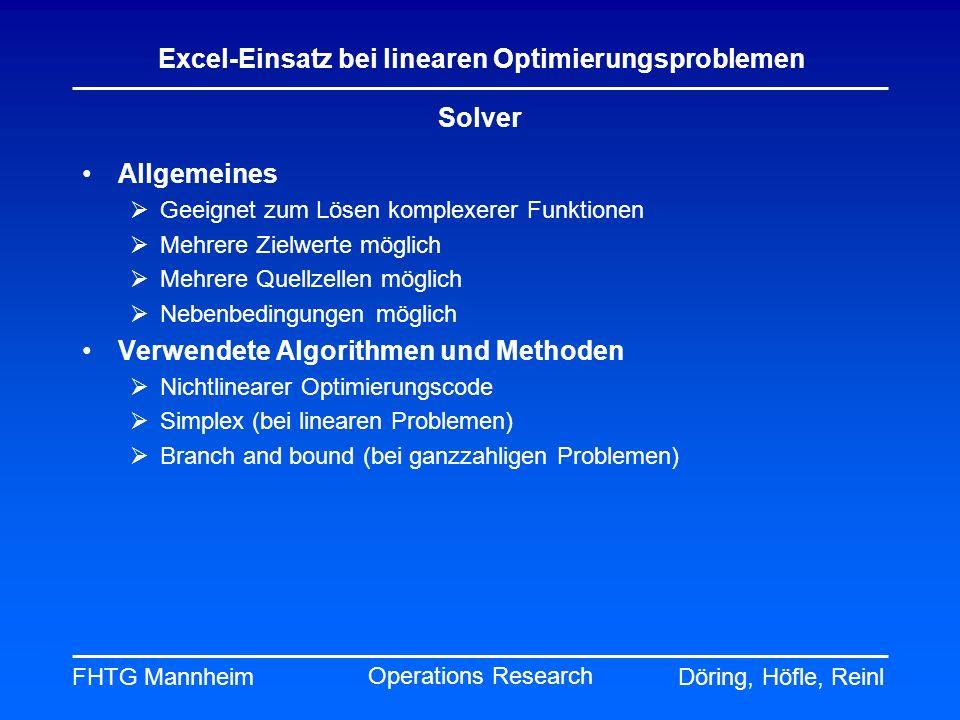 FHTG MannheimDöring, Höfle, Reinl Excel-Einsatz bei linearen Optimierungsproblemen Operations Research Solver Allgemeines Geeignet zum Lösen komplexer