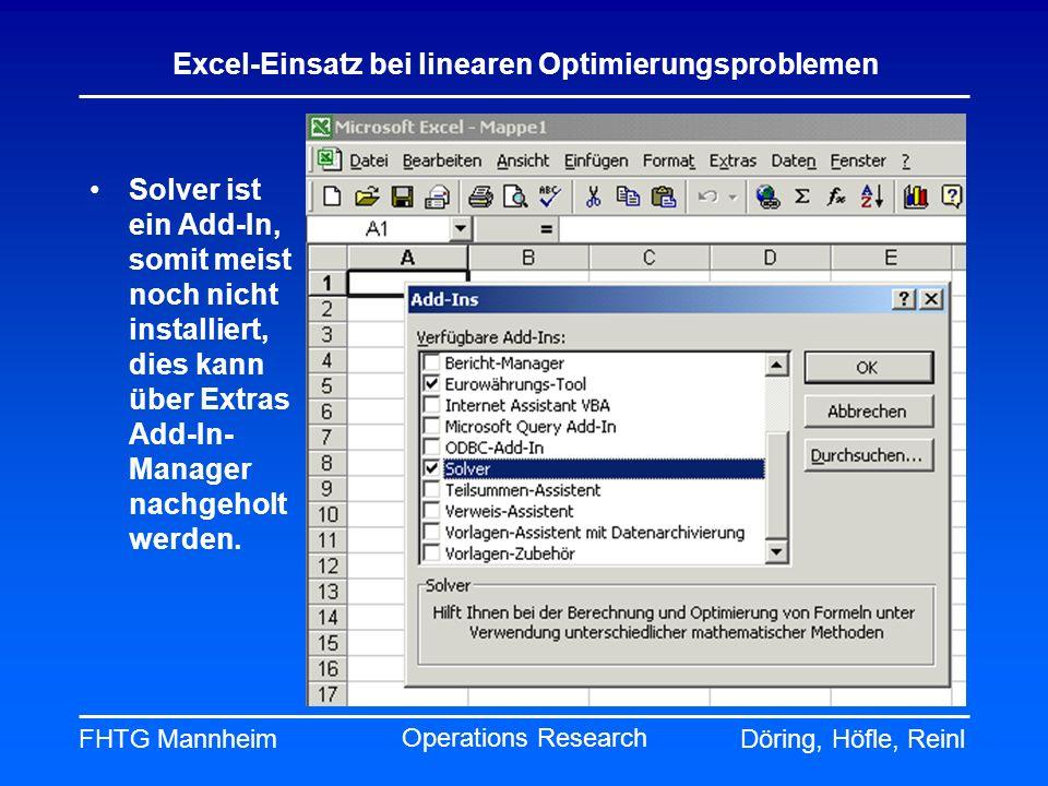 FHTG MannheimDöring, Höfle, Reinl Excel-Einsatz bei linearen Optimierungsproblemen Operations Research Solver ist ein Add-In, somit meist noch nicht i