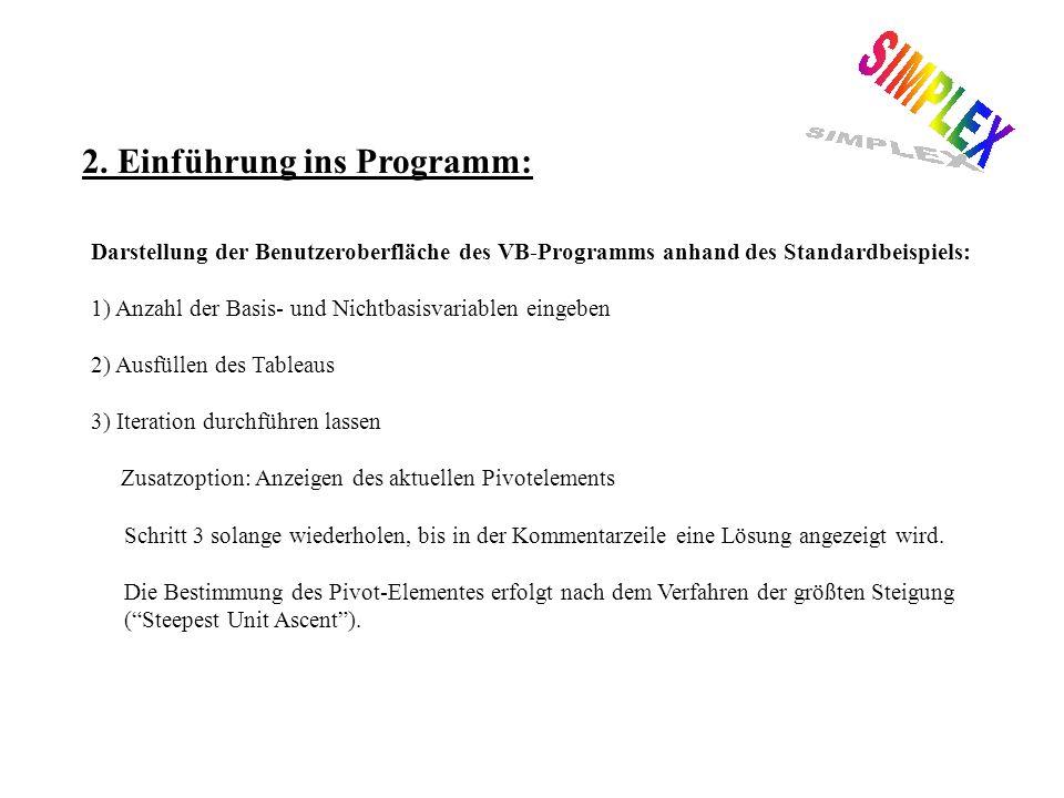 2. Einführung ins Programm: Darstellung der Benutzeroberfläche des VB-Programms anhand des Standardbeispiels: 1) Anzahl der Basis- und Nichtbasisvaria