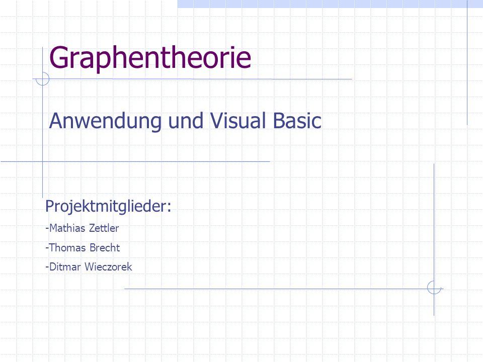 Graphentheorie Anwendung und Visual Basic Projektmitglieder: -Mathias Zettler -Thomas Brecht -Ditmar Wieczorek