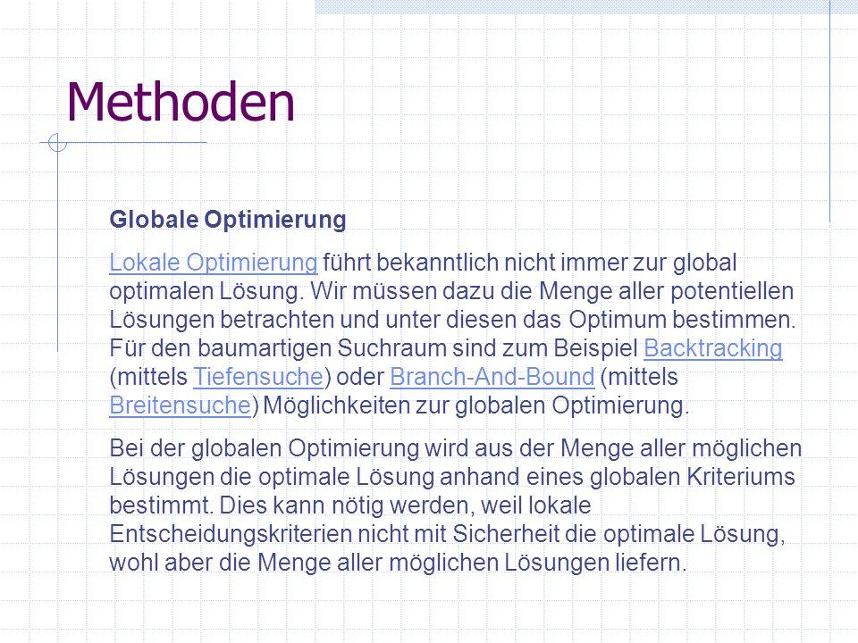 Methoden Globale Optimierung Lokale OptimierungLokale Optimierung führt bekanntlich nicht immer zur global optimalen Lösung. Wir müssen dazu die Menge