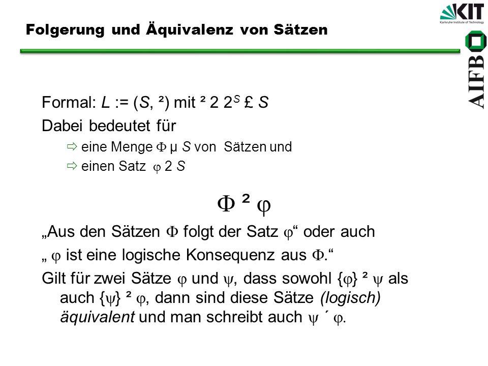 Beweistheorie Zurück zu Leibniz: Rechenmaschine für Logik Aber: Möglichkeit, direkt mit allen möglichen Interpretationen zu arbeiten, oft eingeschränkt Daher: Versuch, Schlussfolgerungsrelation durch rein syntaktische Verfahren zu beschreiben/berechnen ²