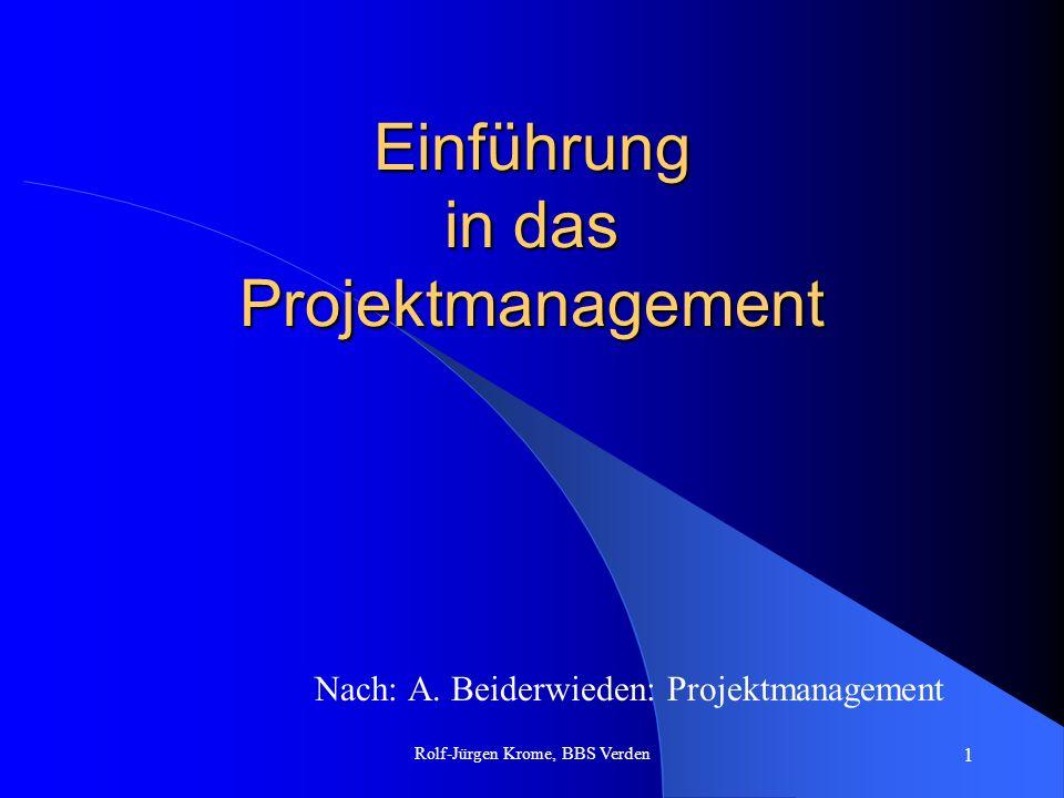 Rolf-Jürgen Krome, BBS Verden 1 Einführung in das Projektmanagement Nach: A. Beiderwieden: Projektmanagement