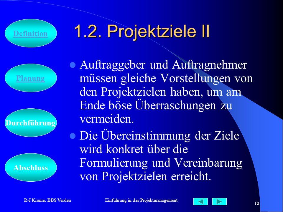 Abschluss Definition Durchführung Planung R-J Krome, BBS VerdenEinführung in das Projektmanagement 10 1.2. Projektziele II Auftraggeber und Auftragneh