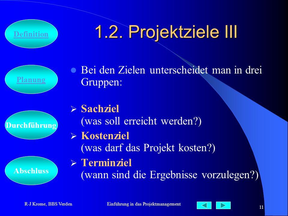 Abschluss Definition Durchführung Planung R-J Krome, BBS VerdenEinführung in das Projektmanagement 11 1.2. Projektziele III Bei den Zielen unterscheid