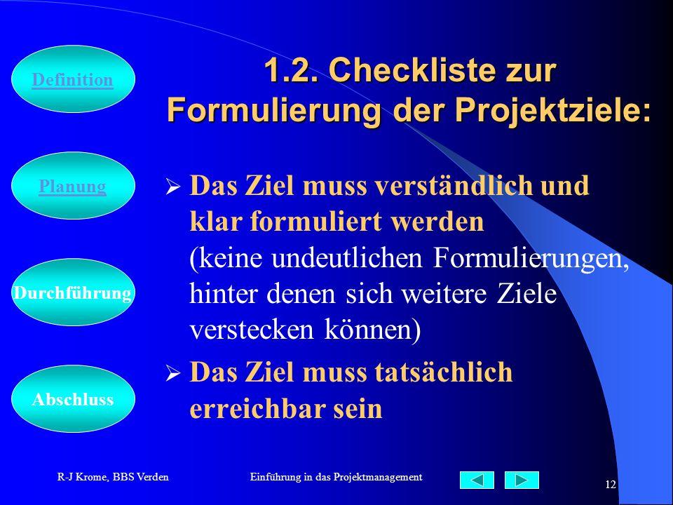 Abschluss Definition Durchführung Planung R-J Krome, BBS VerdenEinführung in das Projektmanagement 12 1.2. Checkliste zur Formulierung der Projektziel