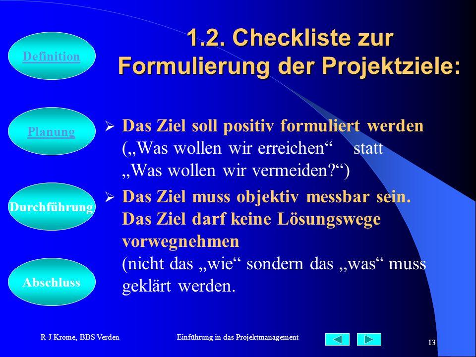 Abschluss Definition Durchführung Planung R-J Krome, BBS VerdenEinführung in das Projektmanagement 13 1.2. Checkliste zur Formulierung der Projektziel